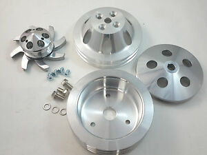 Bbc Big Block Chevy 2 3 Groove Aluminum Short Pump Pulley Kit 396 427 454 V8