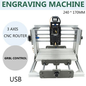 Usb Diy Cnc 2417 Mill Router 3aixs Desktop Metal Engraver Pcb Milling Machine Us
