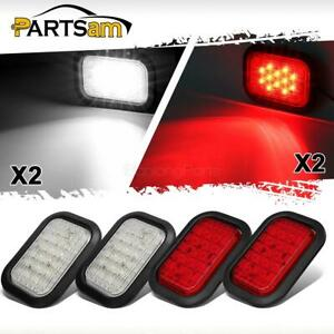 4xred White 5 X3 12led Rectangle Stop Turn Tail Brake Backup Lights Flush Mount