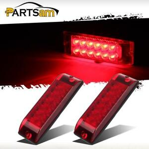 2xred 12led Truck Trailer Stop Turn Tail Lights 8 x2 5 Surface Mount 2 Function