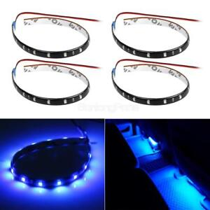 4pcs Auto Interior Blue Light Waterproof 15led Flexible Strip 30cm Dash Lighting
