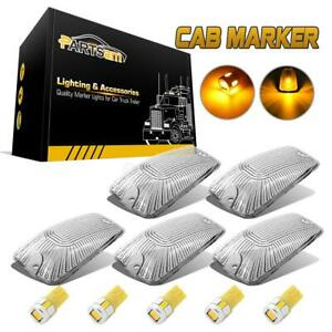 5x Clear Cab Marker Clearance Lights Cover 168 5730 Amber Led Bulb For Chevy Gmc