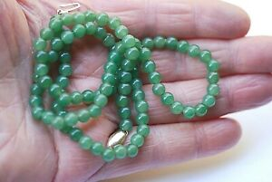 Antique Chinese Green Jade Bead Necklace 14k Gold Clasp 21