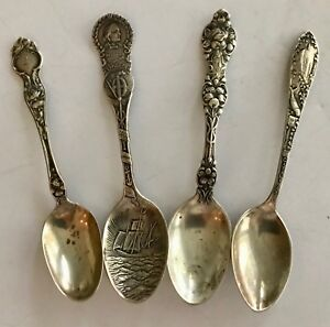 Four Ornate Antique Sterling Silver Spoons