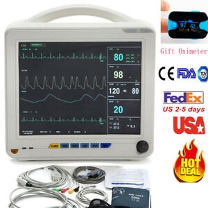 Big 12 1 Inch Medical Vital Signs Patient Monitor 6 parameter Nibp Ecg Oximeter