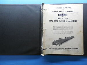 Cincinnati Dial Type Milling Machine Service Manual Repair Parts Catalog