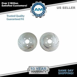 Rear Performance Drilled Slotted Zinc Coated Disc Brake Rotor Pair For Toyota