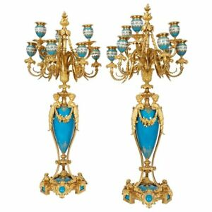 Exquisite Pair Of French Ormolu Turquoise Sevres Porcelain Candelabra