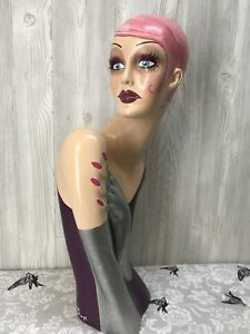 Vintage Style Art Deco Flapper Mannequin Head Hat Stand Pink Glam Glitter Torso