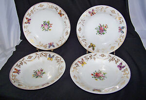 4 White Porc Victorian Plates With Butterfly Flower Gilt Designs Enameling