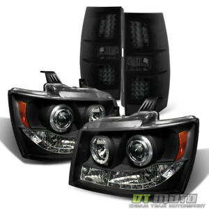 2007 2014 Chevy Suburban Tahoe Blk Led Halo Headlights Led Tail Lights Lamps Set