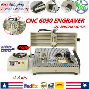 Usb 6090 4 Axis 1500w Vfd Cnc Router Machine Mach3 Engraver Wood Carving Milling