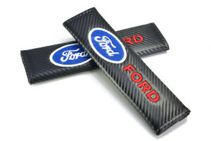 2pcs New Black Ford Carbon Look Seat Belt Cover Shoulder Pads Embroidery Logo