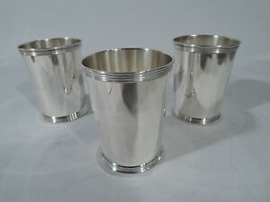 Manchester Mint Juleps 3759 Set Of 3 Julep Cups American Sterling Silver