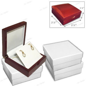 Lot 12 High Quality Wood Gift Box Pendant Box Earring Box Jewelry Display Case