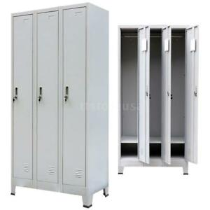 Locker Cabinet With 3 Compartments Steel Gray Office School Storage Gym G5m3