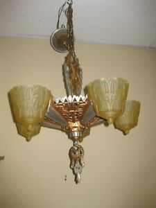1930 S Signed Lincoln Nile Series 5 Light Slip Shade Fixture