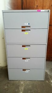 Benston 5 Five Drawer Lateral Legal File Cabinet Working Lock Key Grey 3