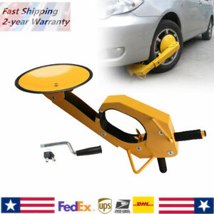 Car Truck Wheel Tire Lock Clamp Anti Theft Safe Parking Boot With 2 Keys Yellow