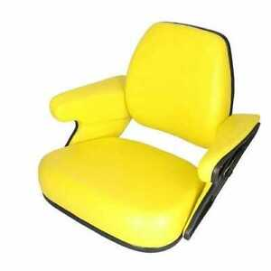 Seat Assembly Vinyl Yellow Compatible With John Deere 4430 4050 4240 7700 4440