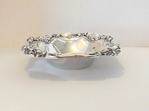 Antique Sterling Silver Repousse Small Bowl Meriden Britannia Co Ornate Border