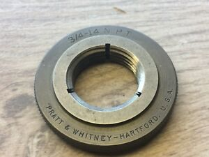 Nice Pratt Whitney Thread Ring Gage 3 4 14 Npt