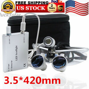 2018 Dental Loupes 3 5x420mm Surgical Binocular Optical Glass Head Light Lamp Us