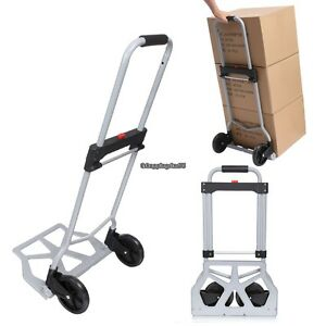 Aluminum Base Portable Cart Folding Dolly Push Truck Hand Collapsible Silver New