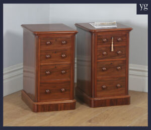 Antique Pair Victorian Mahogany Bedside Chests Pot Cupboards Nightstands C 1860