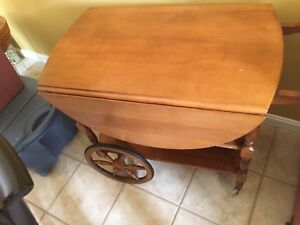 Vintage Wooden Drop Leaf Tea Cart Table With Wheels Sides Pop Up For Table