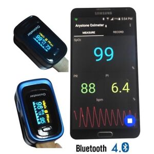 Android Bluetooth 4 0 Sp02 Oled Fingertip Pulse Oximeter Blood Oxygen Minitor