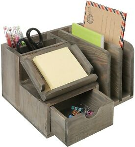 Mygift Rustic Gray Wood Desktop Office Organizer W Sticky Note Pad Holder And