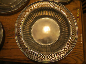 Estate Sterling Silver Meriden Britannia Pierced Work Bowl Channel Sides 914