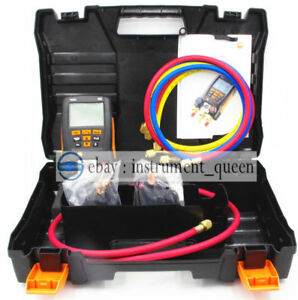 Testo 550 With Hoses Refrigeration Digital Manifold Kit 0563 1550 Clamp Probes