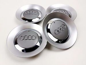 4x150mm Audi Grey Wheel Center Caps Logo Emblem Badge Hub Caps Rim Caps
