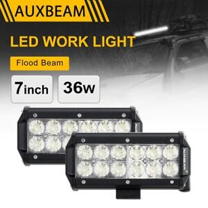 Auxbeam 7 36w Cree Led Work Light Bar Flood Beam Driving Truck Offroad 4wd Atv