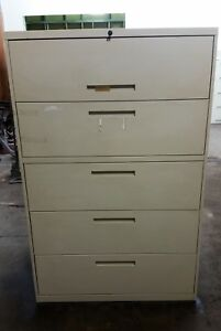 Kimball 5 Five Drawer Lateral Legal File Cabinet Working Lock Key Taupe 5