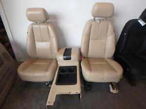 07 14 Chevrolet Tahoe Power Tan Leather Bucket Seats Console Driver