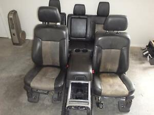 2011 2016 Ford F250 F350 Superduty Front Rear Seat Set Black Leather Heated