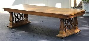 Mid Century Modern Wood Coffee Table Scroll Rectangular Low 5