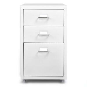 3 Drawers Sturdy Metal File Filing Cabinet Storage Office Essential White R9s2