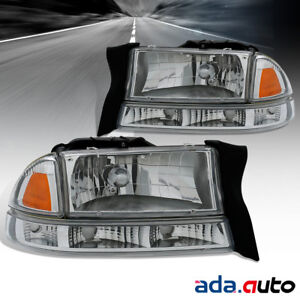 1997 2004 Dodge Dakota 1998 2003 Durango Chrome Bumper Signal Headlights Set