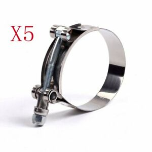 5pcs 108 116mm Stainless Steel T Bolt Clamp For Id 4 Inch 102mm Silicone Hose