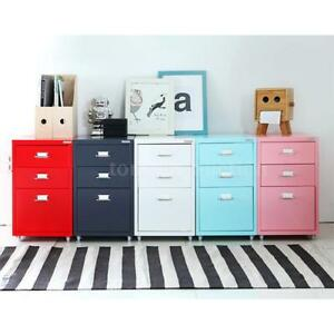 Home 3 Drawer Metal File Cabinet Mobile Filing Cabinet Home Office Furniture Us