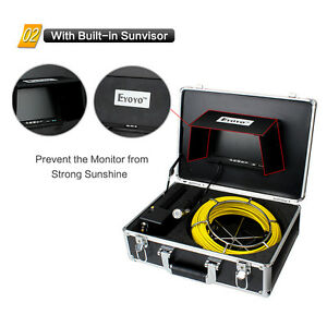 50m 12led Sewer Pipe Pipeline Drain Endoscope Snake Inspection Camera 7 Monitor
