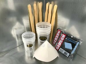 Paint Refinishing Kit Mixing Cups Sticks Strainers Tack Cloth