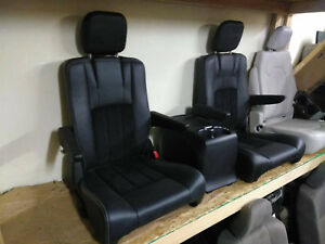 2 Bucket Seats With Console Jeep Hotrod Bus Van Boat Classic Truck Black Leather