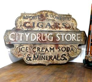 Drug Store Trade Sign In Pressed Tin Stamped Cigar Vintage Style Soda Fountain