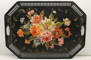 Antique Toleware Floral Style Large Metal Serving Tray 24 X 17