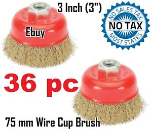 Ebuy 36pc 3 75mm Wire Brush Crimp Cup Brush For Angle Grinder